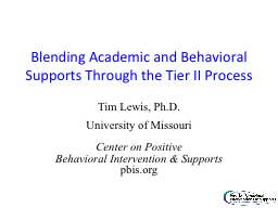 Blending Academic and Behavioral Supports Through the Tier