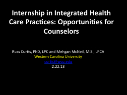 Internship in Integrated Health Care Practices: Opportuniti