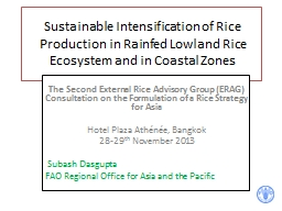 Sustainable Intensification of Rice Production in