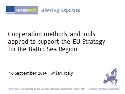 Cooperation methods and tools applied to support the EU Str