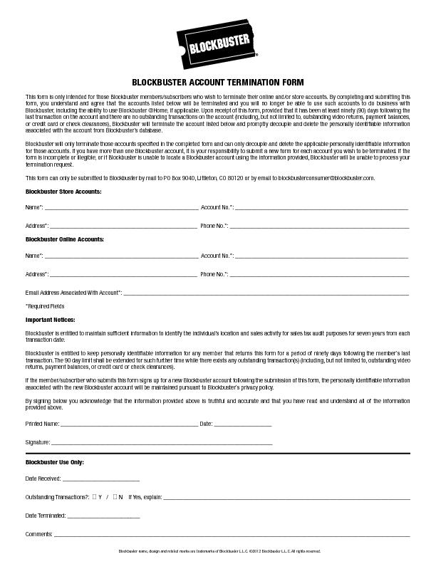 BLOCKBUSTER ACCOUNT TERMINATION FORMThis form is only intended for tho