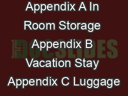 Appendix A In Room Storage Appendix B Vacation Stay Appendix C Luggage