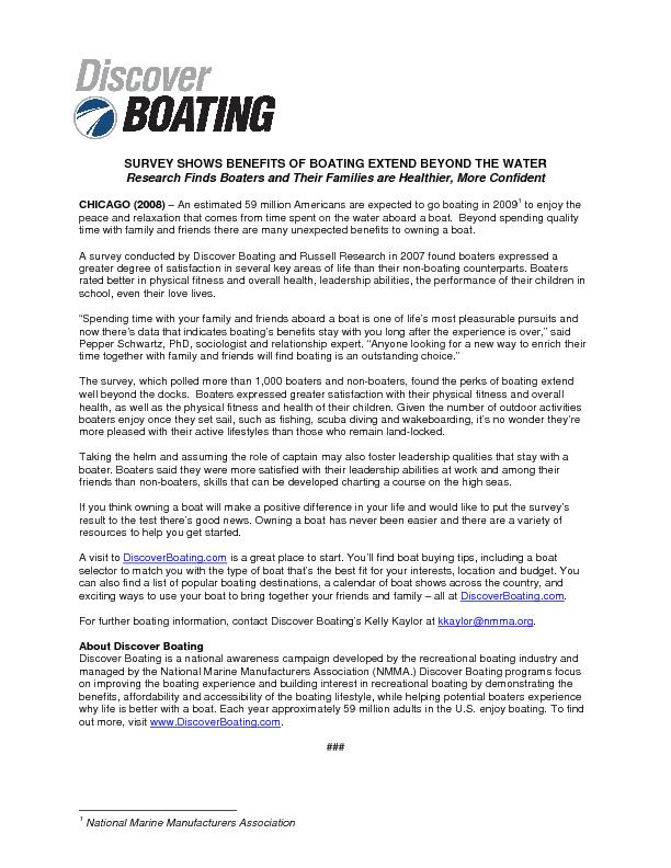 SURVEY SHOWS BENEFITS OF BOATING EXTEND BEYOND THE WATER Research Find