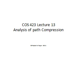COS 423 Lecture 13 PowerPoint PPT Presentation