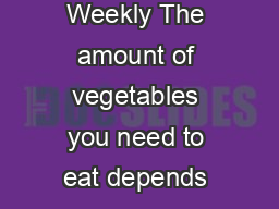 How Many Vegetables Are Needed Daily or Weekly The amount of vegetables you need to eat depends on your age sex and level of physical activity