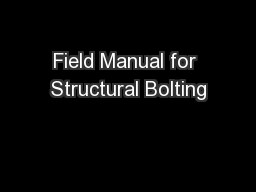 Field Manual for Structural Bolting
