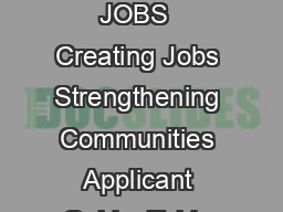 CANADA SUMMER JOBS  Creating Jobs Strengthening Communities Applicant Guide  Table of Contents