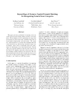 Beyond Bags of Features Spatial Pyramid Matching for Recognizing Natural Scene Categories Svetlana Lazebnik slazebniuiuc