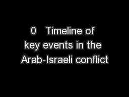 0   Timeline of key events in the Arab-Israeli conflict