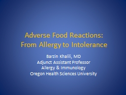 Adverse Food Reactions: