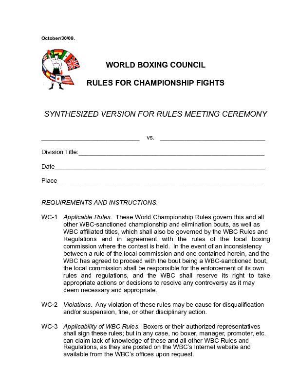 and the WBC shall reserve its right to