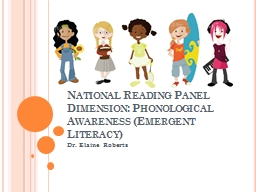 National Reading Panel Dimension: Phonological Awareness (E