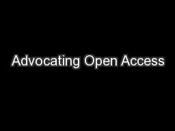 Advocating Open Access
