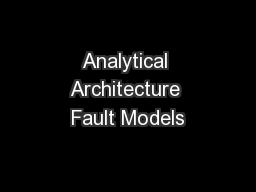 Analytical Architecture Fault Models