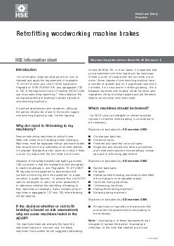 Woodworking Information Sheet No 38 (Revision 1)