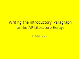 Writing the Introductory Paragraph for the AP Literature Es