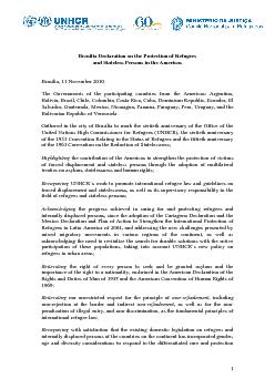 Brasilia Declaration on the Protection of Refugees and Stateless Perso