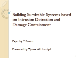 Building Survivable Systems based on Intrusion Detection an