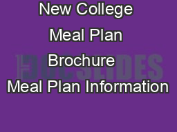New College Meal Plan Brochure   Meal Plan Information