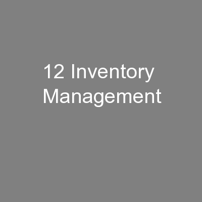 12 Inventory Management