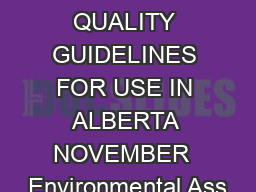 SURFACE WATER QUALITY GUIDELINES FOR USE IN ALBERTA NOVEMBER  Environmental Ass