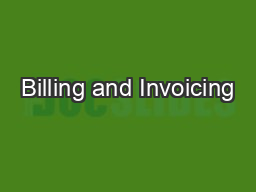 Billing and Invoicing