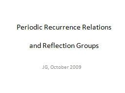 Periodic Recurrence Relations PowerPoint PPT Presentation