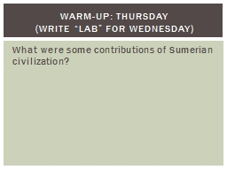 What were some contributions of Sumerian civilization? PowerPoint PPT Presentation