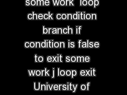 University of Pittsburgh while condition  true  some work  loop check condition branch if condition is false to exit some work j loop exit University of Pittsburgh char str  Hello World char s  str w PowerPoint PPT Presentation