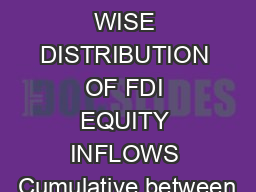 SECTOR WISE DISTRIBUTION OF FDI EQUITY INFLOWS Cumulative between