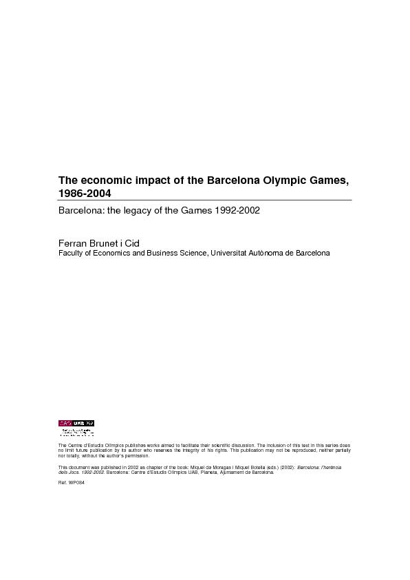 The economic impact of the Barcelona Olympic Games, 1986