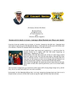 JPs feature Artist of the Week Backstreet Boys brought to you by JP Public Relations Inc and Celebrity Extras magazine Guess whos back in town