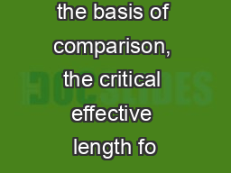 both ends as the basis of comparison, the critical effective length fo PowerPoint PPT Presentation