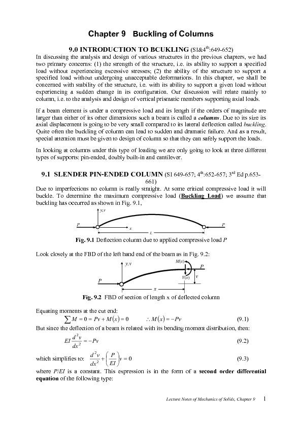 Lecture Notes of Mechanics of Solids, Chapter 9       In discussing th