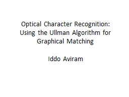 Optical Character Recognition: