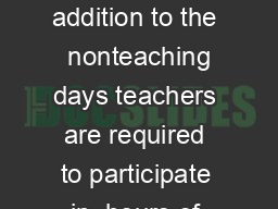 School Calendar Adopted by the School Board January    In addition to the  nonteaching days teachers are required to participate in  hours of sta development PDP throughout the year