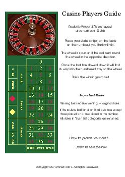 Casino Players Guide Roulette Wheel  Table layout uses numbers  Important Rules Winning bets receive winnings  original stake