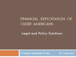 Financial Exploitation of Older Americans