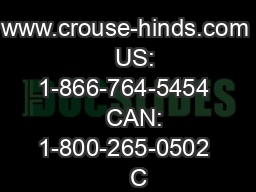 www.crouse-hinds.com    US: 1-866-764-5454    CAN: 1-800-265-0502    C