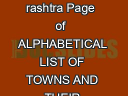 List of towns Census of India  Maha rashtra Page  of  ALPHABETICAL LIST OF TOWNS AND THEIR POPULATION MAHARASHTRA PowerPoint PPT Presentation