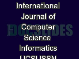Special Issue of International Journal of Computer Science  Informatics IJCSI ISSN PRINT   Vol