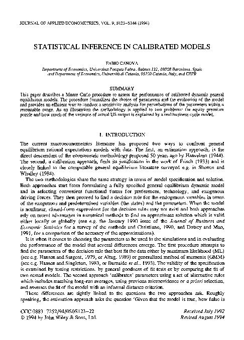 JOURNAL OF APPLIED ECONOMETRICS, VOL. 9, S123-S144 (1994) STATISTICAL