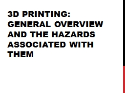 3D Printing:  General Overview and the Hazards Associated w