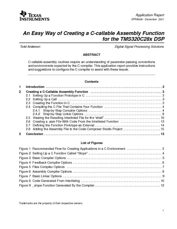 An Easy Way of Creating a C-callable Assembly FunctionTodd AndersonD .