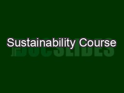 Sustainability Course
