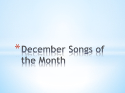 December Songs of the Month