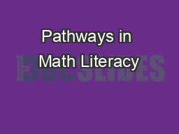Pathways in Math Literacy