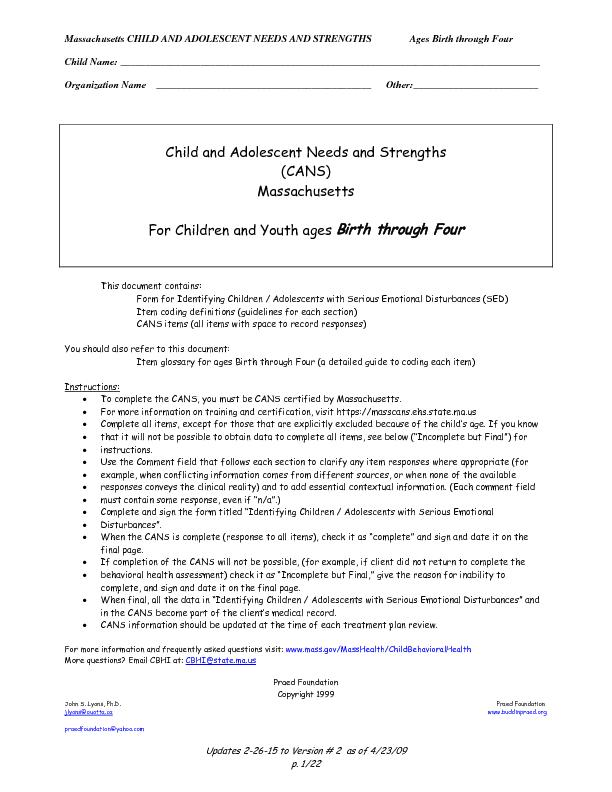 Massachusetts CHILD AND ADOLESCENT NEEDS AND STRENGTHS               A