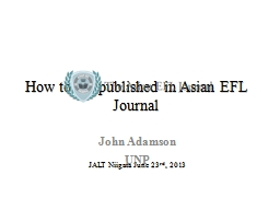 How to get published in Asian EFL Journal