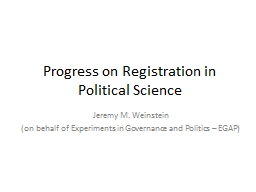 Progress on Registration in Political Science PowerPoint PPT Presentation